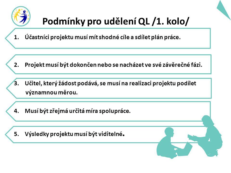 Podmínky pro udělení QL /1. kolo/ 1. Účastníci projektu musí mít shodné cíle a sdílet plán práce. 2. Projekt musí být dokončen nebo se nacházet ve své