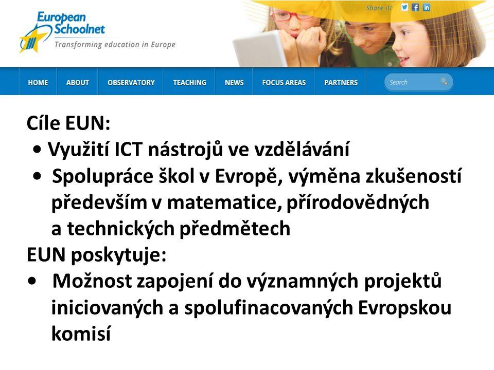 Cíle EUN: Využití ICT nástrojů ve vzdělávání Spolupráce škol v Evropě, výměna zkušeností především v matematice, přírodovědných a technických předmětech EUN poskytuje: Možnost zapojení do významných projektů iniciovaných a spolufinacovaných Evropskou komisí