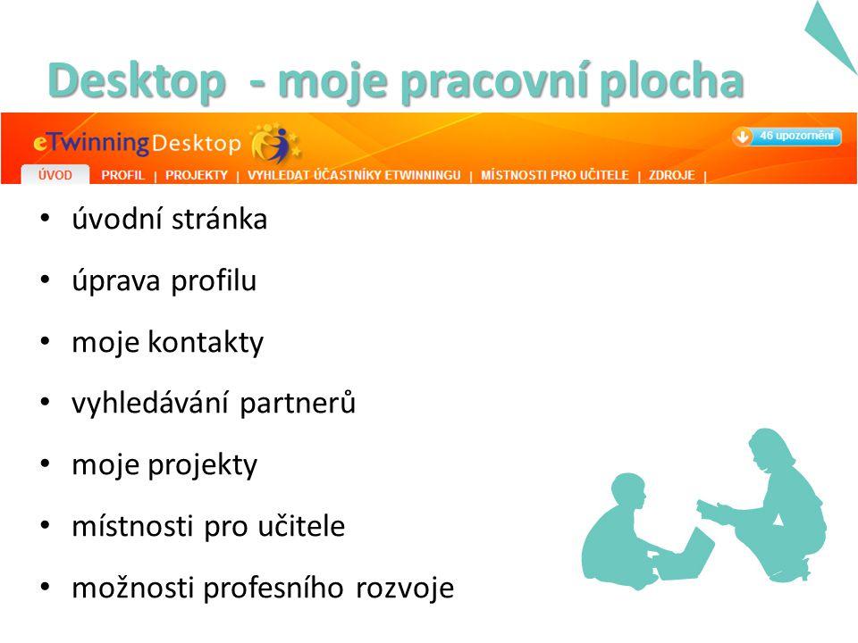 Desktop - moje pracovní plocha úvodní stránka úprava profilu moje kontakty vyhledávání partnerů moje projekty místnosti pro učitele možnosti profesního rozvoje