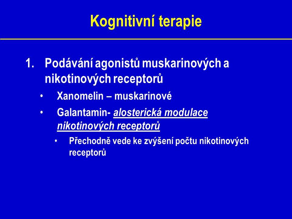 Kognitivní terapie 1.Podávání agonistů muskarinových a nikotinových receptorů Xanomelin – muskarinové Galantamin- alosterická modulace nikotinových re