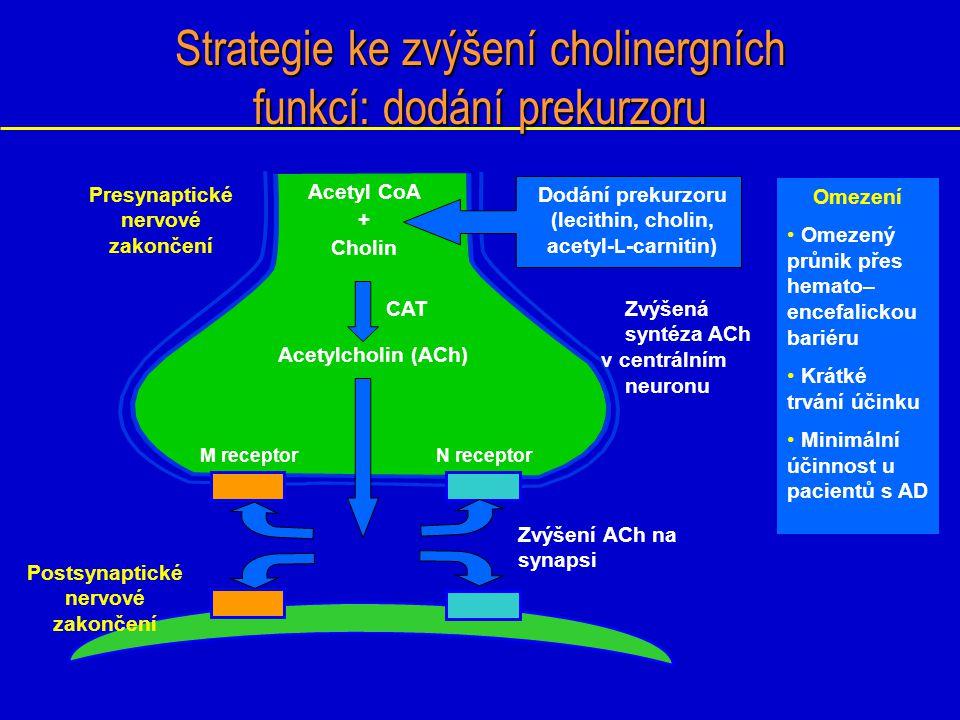 Strategie ke zvýšení cholinergních funkcí: dodání prekurzoru M receptorN receptor Presynaptické nervové zakončení Postsynaptické nervové zakončení Ome