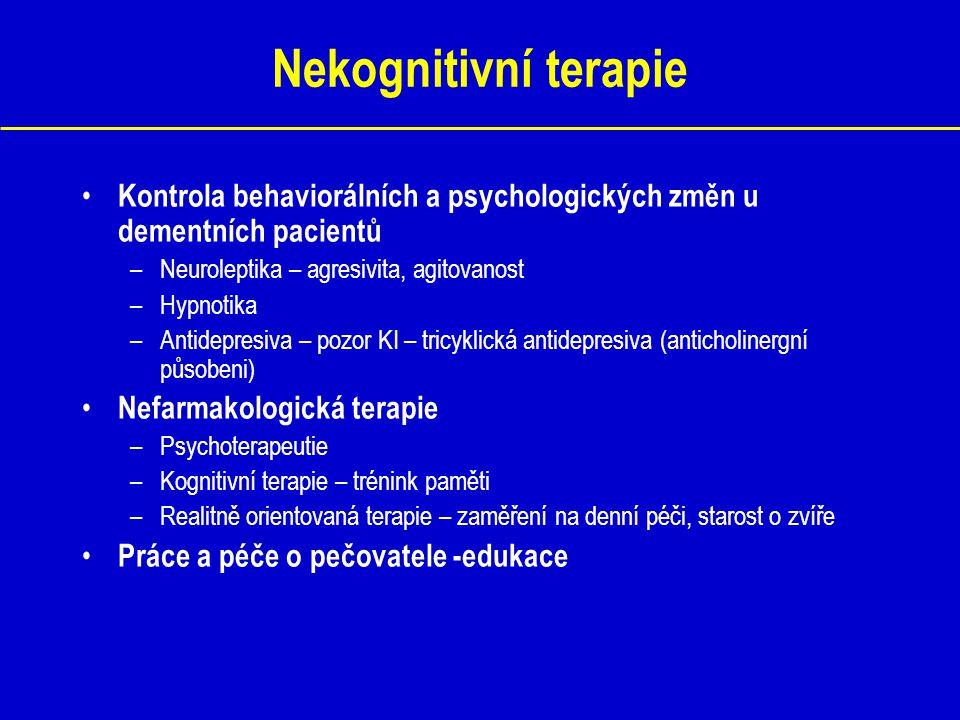 Nekognitivní terapie Kontrola behaviorálních a psychologických změn u dementních pacientů –Neuroleptika – agresivita, agitovanost –Hypnotika –Antidepr
