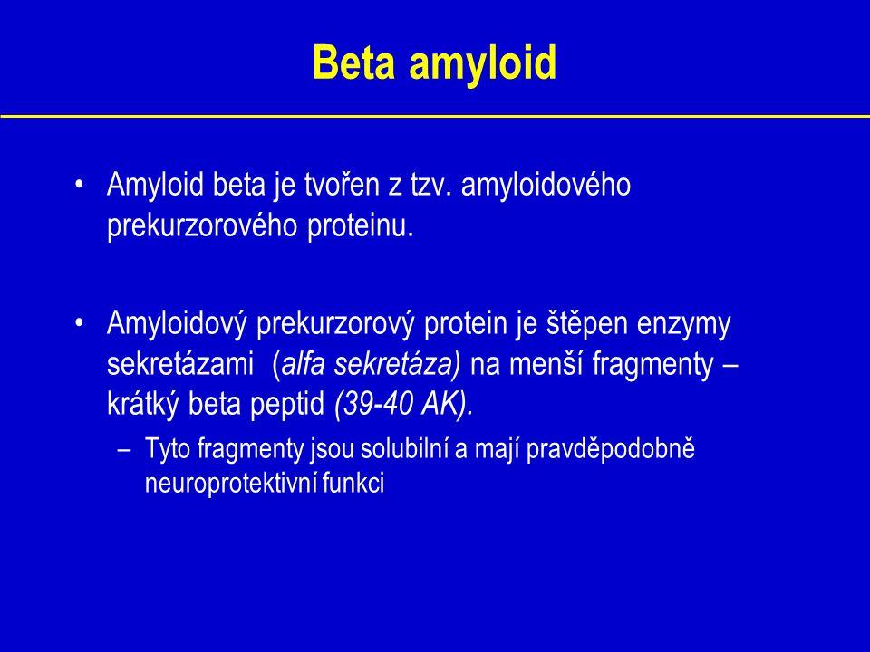 Beta amyloid Amyloid beta je tvořen z tzv. amyloidového prekurzorového proteinu. Amyloidový prekurzorový protein je štěpen enzymy sekretázami ( alfa s