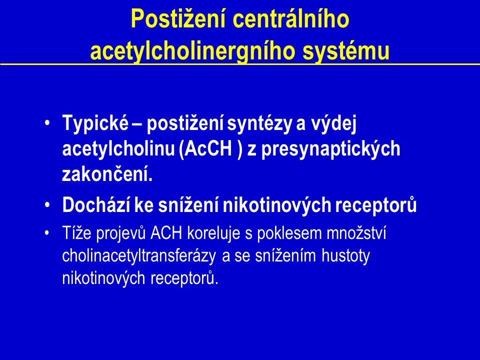 Postižení centrálního acetylcholinergního systému Typické – postižení syntézy a výdej acetylcholinu (AcCH ) z presynaptických zakončení. Dochází ke sn