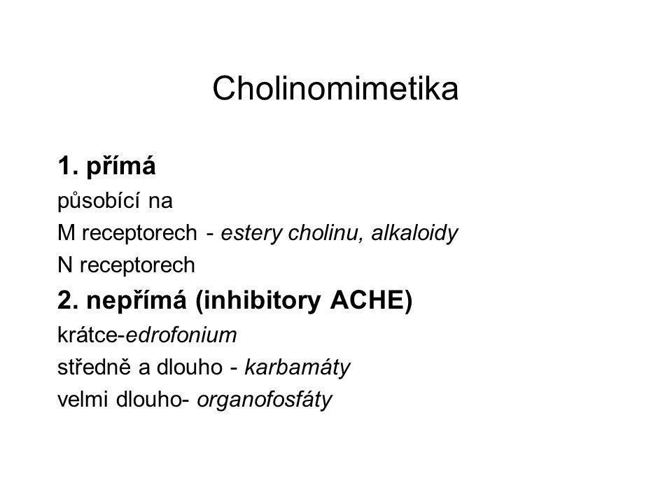 Cholinomimetika 1. přímá působící na M receptorech - estery cholinu, alkaloidy N receptorech 2. nepřímá (inhibitory ACHE) krátce-edrofonium středně a