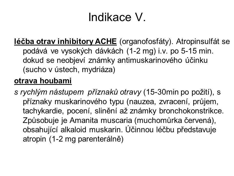 Indikace V. léčba otrav inhibitory ACHE (organofosfáty). Atropinsulfát se podává ve vysokých dávkách (1-2 mg) i.v. po 5-15 min. dokud se neobjeví znám