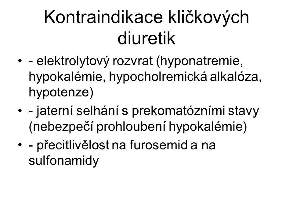 Kontraindikace kličkových diuretik - elektrolytový rozvrat (hyponatremie, hypokalémie, hypocholremická alkalóza, hypotenze) - jaterní selhání s prekom