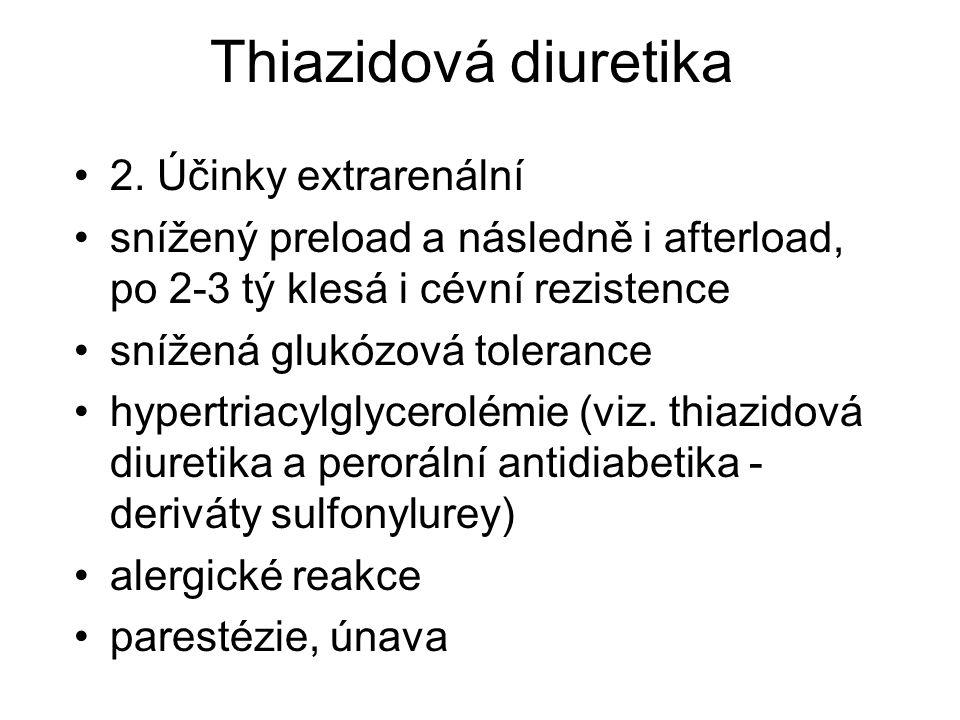 Thiazidová diuretika 2. Účinky extrarenální snížený preload a následně i afterload, po 2-3 tý klesá i cévní rezistence snížená glukózová tolerance hyp