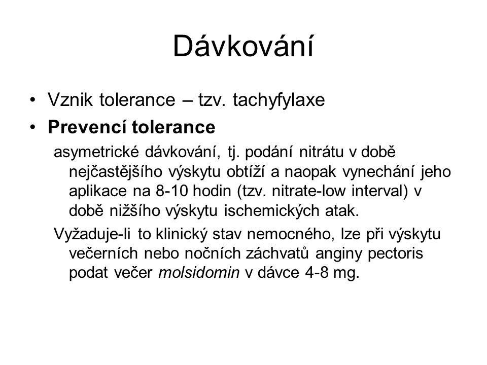 Dávkování Vznik tolerance – tzv. tachyfylaxe Prevencí tolerance asymetrické dávkování, tj. podání nitrátu v době nejčastějšího výskytu obtíží a naopak