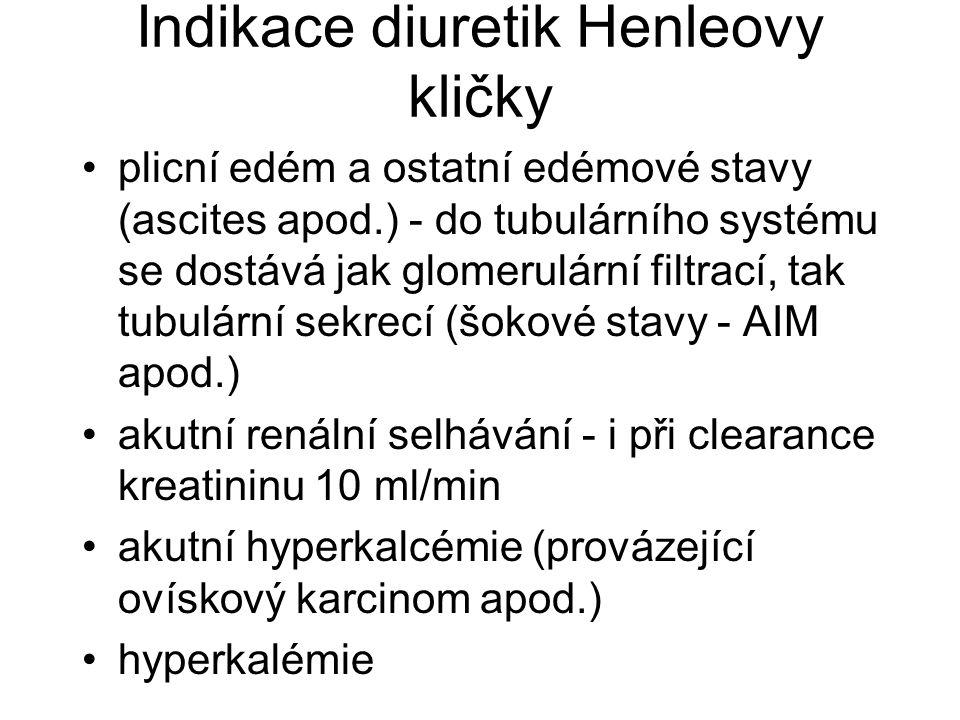 Indikace diuretik Henleovy kličky plicní edém a ostatní edémové stavy (ascites apod.) - do tubulárního systému se dostává jak glomerulární filtrací, t