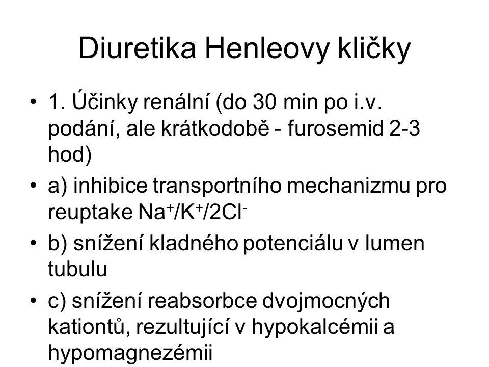 Diuretika Henleovy kličky 1. Účinky renální (do 30 min po i.v. podání, ale krátkodobě - furosemid 2-3 hod) a) inhibice transportního mechanizmu pro re