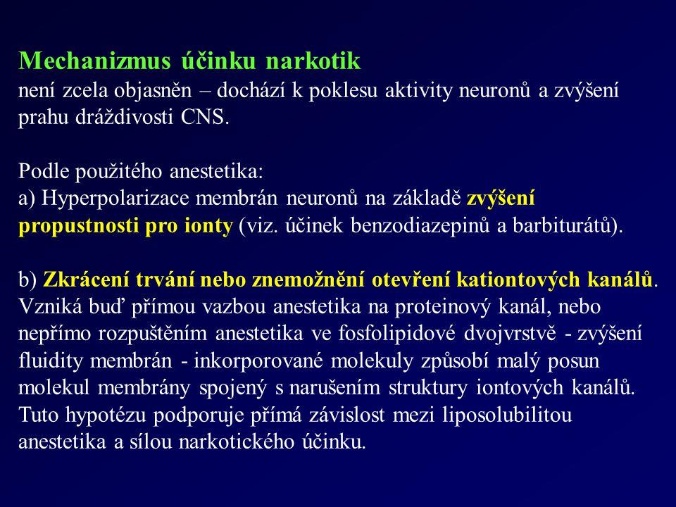 Mechanizmus účinku narkotik není zcela objasněn – dochází k poklesu aktivity neuronů a zvýšení prahu dráždivosti CNS. Podle použitého anestetika: a) H