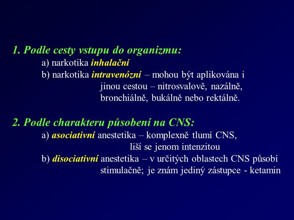 1. Podle cesty vstupu do organizmu: a) narkotika inhalační b) narkotika intravenózní – mohou být aplikována i jinou cestou – nitrosvalově, nazálně, br