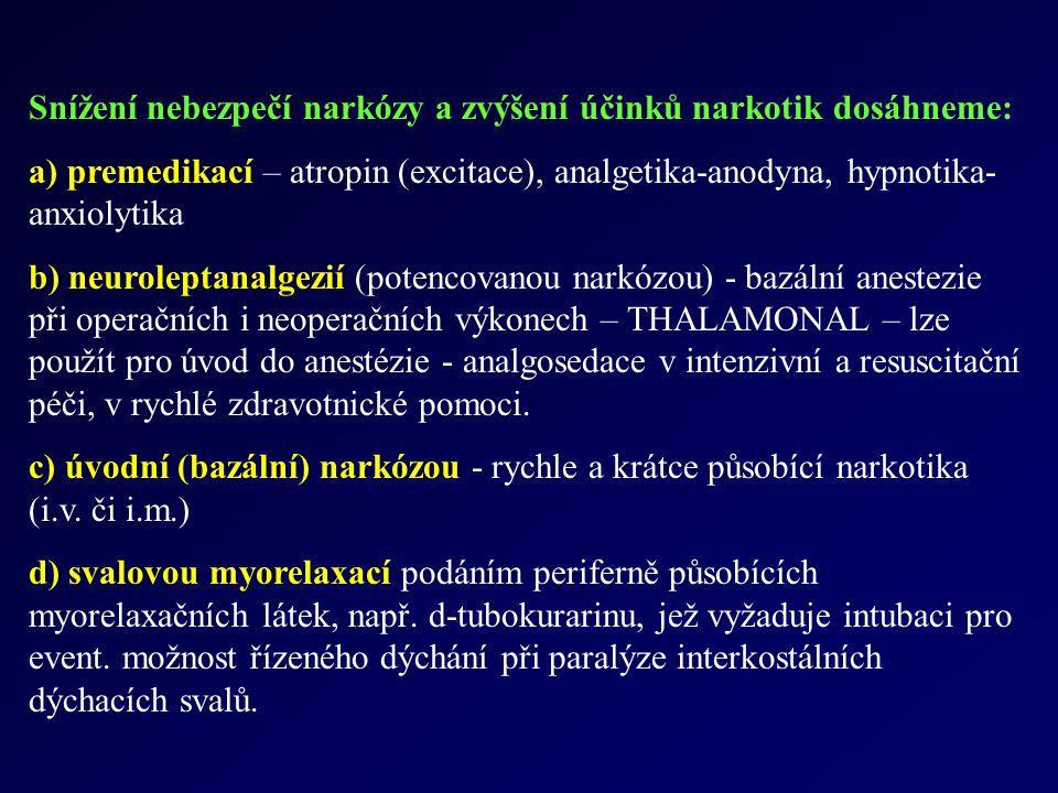 Snížení nebezpečí narkózy a zvýšení účinků narkotik dosáhneme: a) premedikací – atropin (excitace), analgetika-anodyna, hypnotika- anxiolytika b) neur