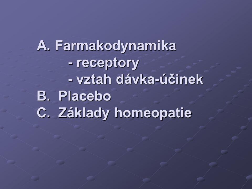 A. Farmakodynamika - receptory - vztah dávka-účinek B. Placebo C. Základy homeopatie A. Farmakodynamika - receptory - vztah dávka-účinek B. Placebo C.