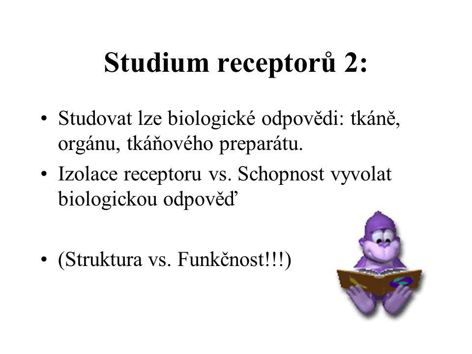 Studium receptorů 1: 1.Kvantitativní sledování vztahů mezi koncentrací látky a vyvolaným účinkem.