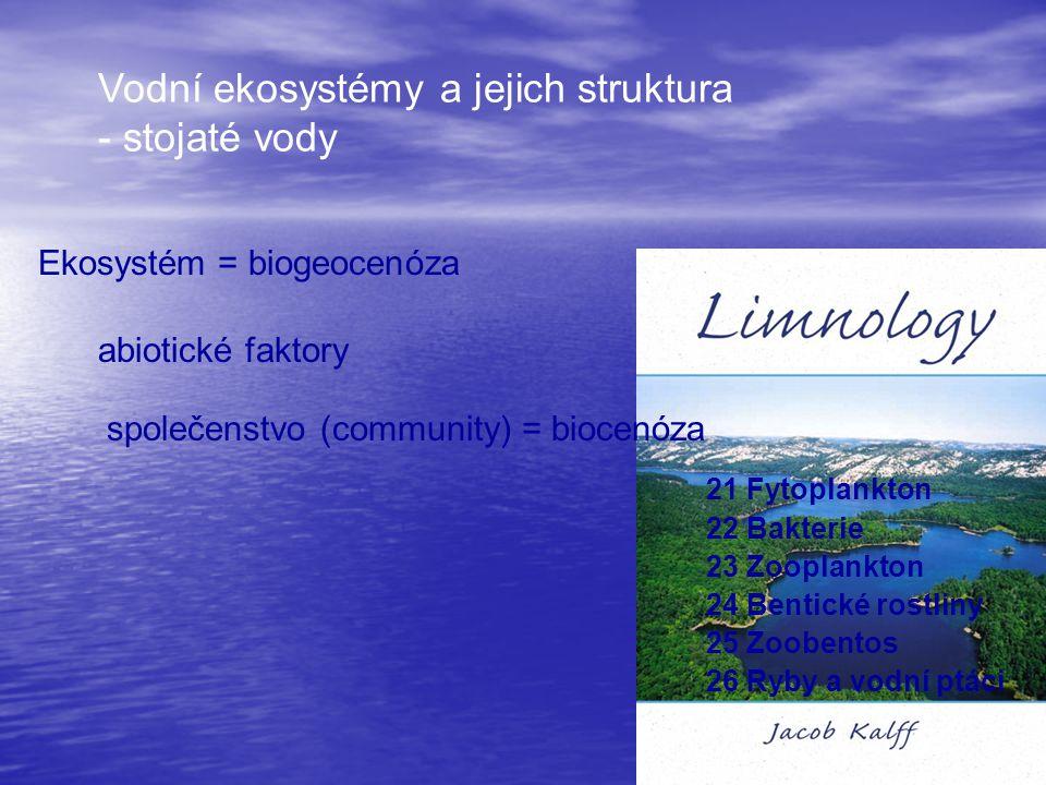Vodní ekosystémy a jejich struktura - stojaté vody Ekosystém = biogeocenóza abiotické faktory 21 Fytoplankton 22 Bakterie 23 Zooplankton 24 Bentické r