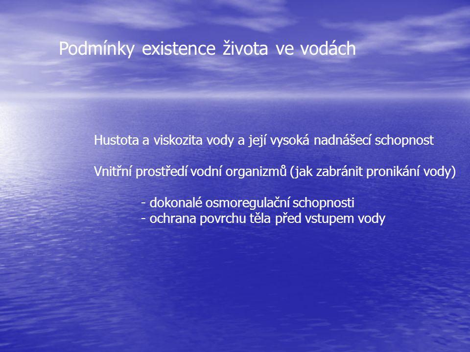 Podmínky existence života ve vodách Hustota a viskozita vody a její vysoká nadnášecí schopnost Vnitřní prostředí vodní organizmů (jak zabránit proniká