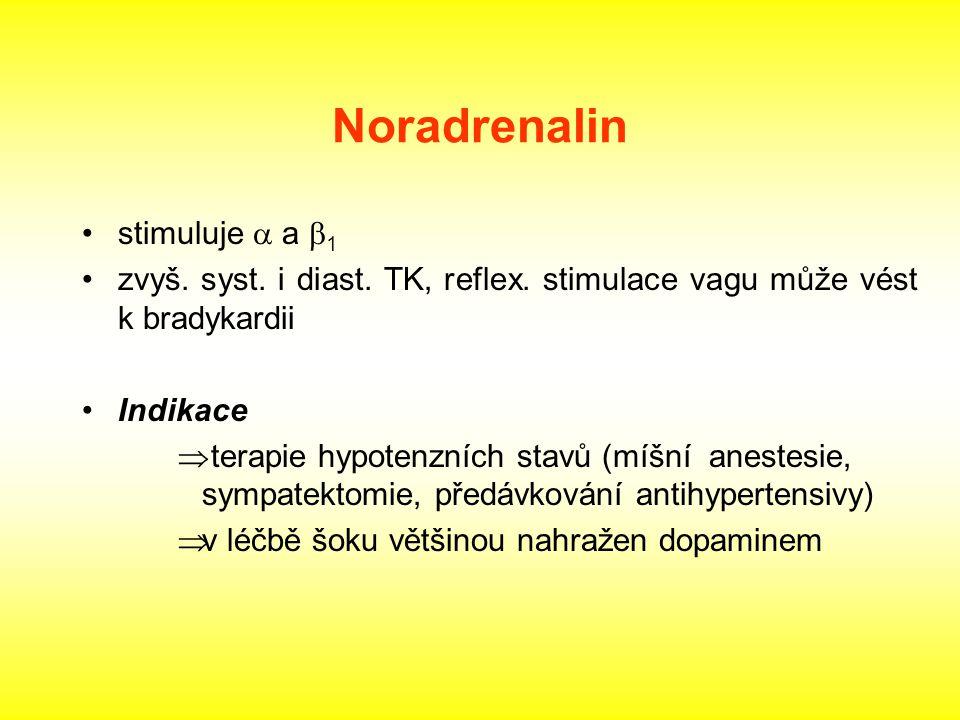 Noradrenalin stimuluje  a  1 zvyš. syst. i diast. TK, reflex. stimulace vagu může vést k bradykardii Indikace  terapie hypotenzních stavů (míšní an