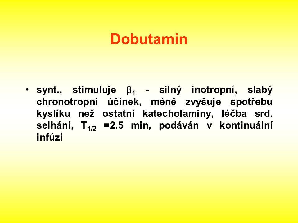 Dobutamin synt., stimuluje  1 - silný inotropní, slabý chronotropní účinek, méně zvyšuje spotřebu kyslíku než ostatní katecholaminy, léčba srd. selhá