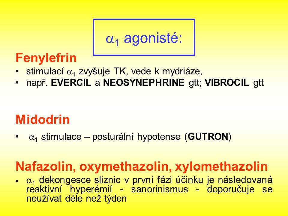 Fenylefrin stimulací  1 zvyšuje TK, vede k mydriáze, např. EVERCIL a NEOSYNEPHRINE gtt; VIBROCIL gtt Midodrin  1 stimulace – posturální hypotense (G