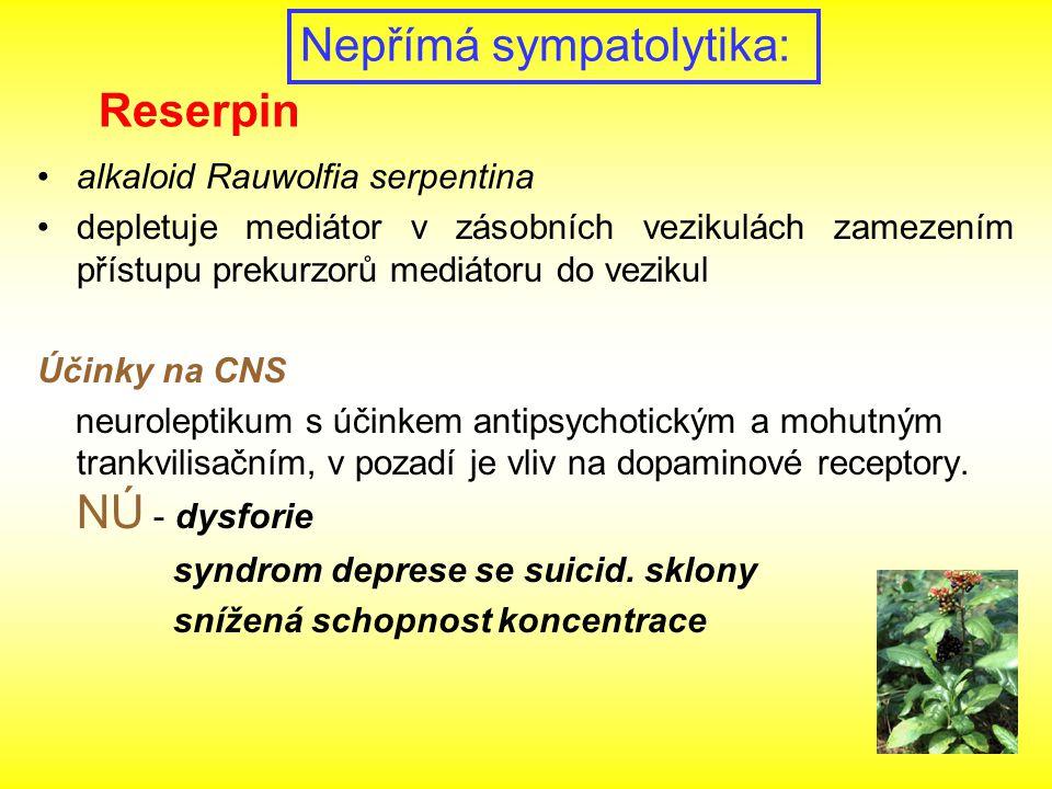 alkaloid Rauwolfia serpentina depletuje mediátor v zásobních vezikulách zamezením přístupu prekurzorů mediátoru do vezikul Účinky na CNS neuroleptikum