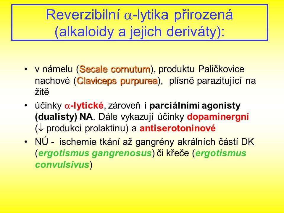 Reverzibilní  -lytika přirozená (alkaloidy a jejich deriváty): Secale cornutum Claviceps purpureav námelu (Secale cornutum), produktu Paličkovice nac