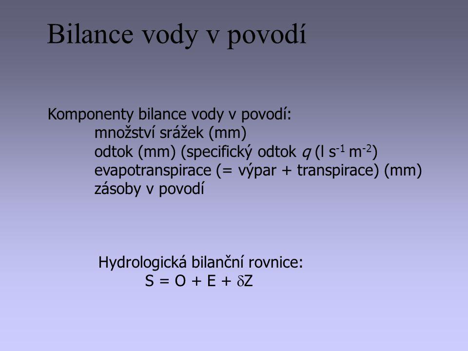 Komponenty bilance vody v povodí: množství srážek (mm) odtok (mm) (specifický odtok q (l s -1 m -2 ) evapotranspirace (= výpar + transpirace) (mm) zás
