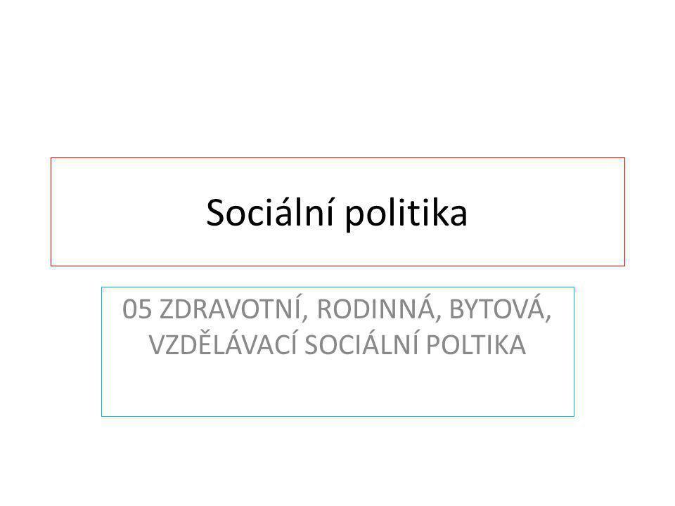 TÉMA PŘEDNÁŠKY 1.ZDRAVOTNÍ POLITIKA 2.RODINNÁ POLITIKA 3.BYTOVÁ POLTIKA 4.VZDĚLÁVACÍ POLTIKA