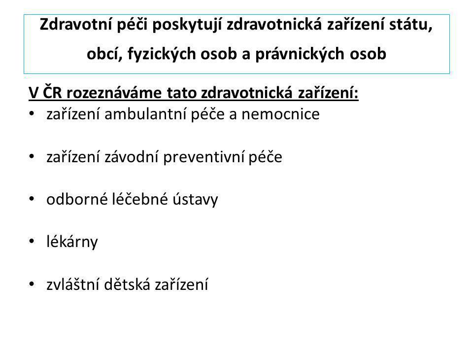 Zdravotní péči poskytují zdravotnická zařízení státu, obcí, fyzických osob a právnických osob V ČR rozeznáváme tato zdravotnická zařízení: zařízení am