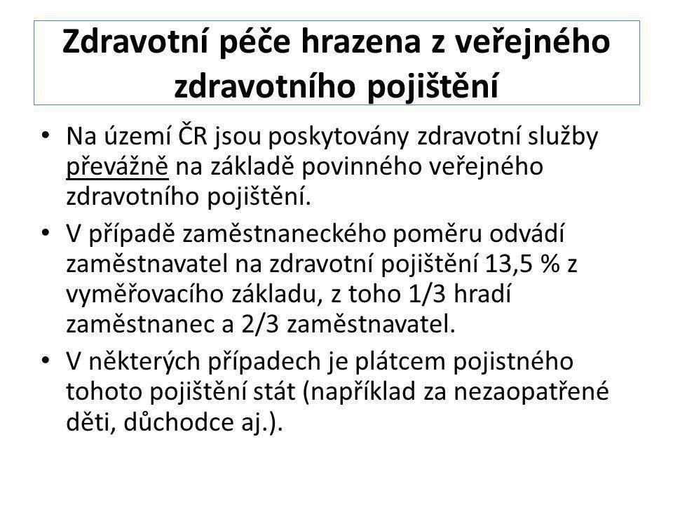 Zdravotní péče hrazena z veřejného zdravotního pojištění Na území ČR jsou poskytovány zdravotní služby převážně na základě povinného veřejného zdravot
