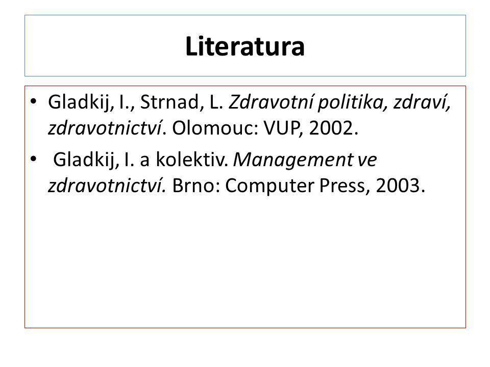 Literatura Gladkij, I., Strnad, L. Zdravotní politika, zdraví, zdravotnictví. Olomouc: VUP, 2002. Gladkij, I. a kolektiv. Management ve zdravotnictví.
