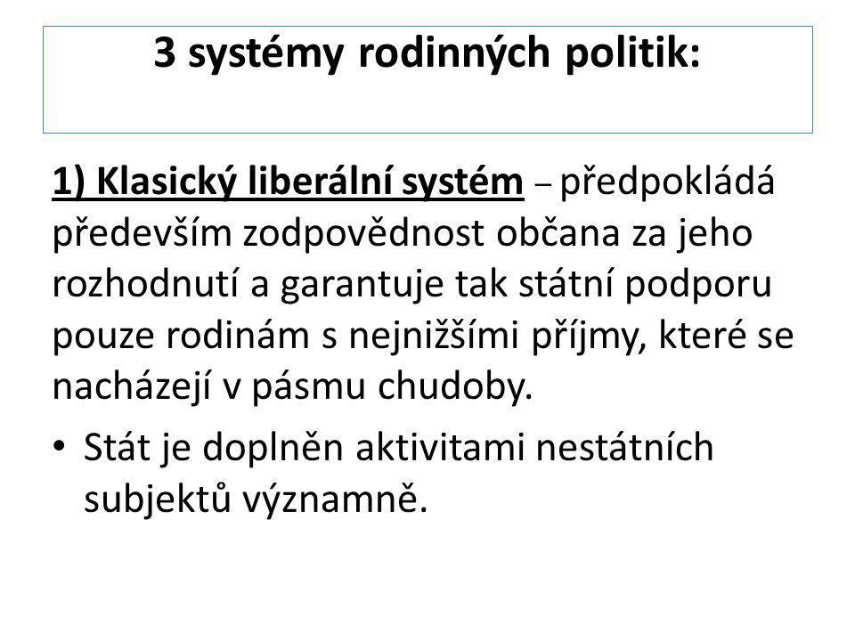 3 systémy rodinných politik: 1) Klasický liberální systém – předpokládá především zodpovědnost občana za jeho rozhodnutí a garantuje tak státní podpor
