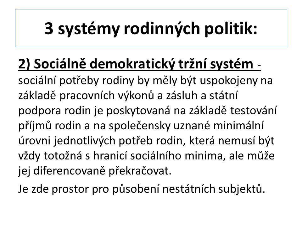 3 systémy rodinných politik: 2) Sociálně demokratický tržní systém - sociální potřeby rodiny by měly být uspokojeny na základě pracovních výkonů a zás