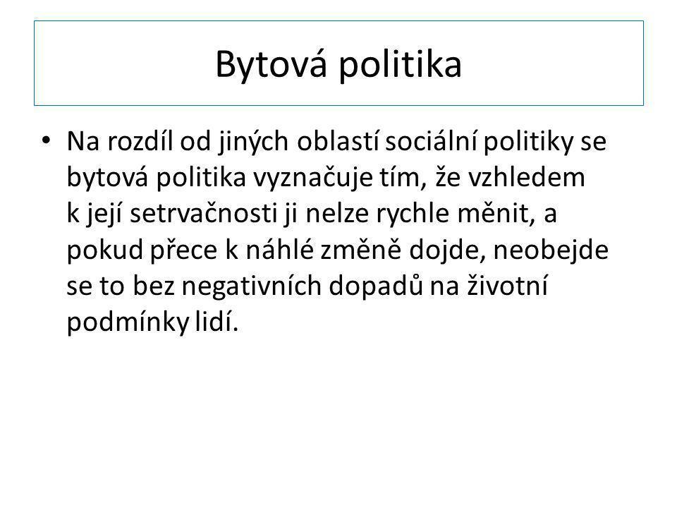 Bytová politika Na rozdíl od jiných oblastí sociální politiky se bytová politika vyznačuje tím, že vzhledem k její setrvačnosti ji nelze rychle měnit,