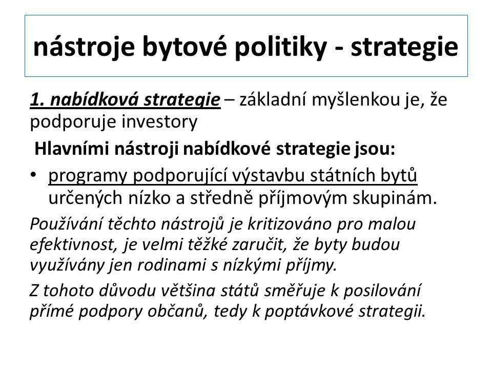 nástroje bytové politiky - strategie 1. nabídková strategie – základní myšlenkou je, že podporuje investory Hlavními nástroji nabídkové strategie jsou