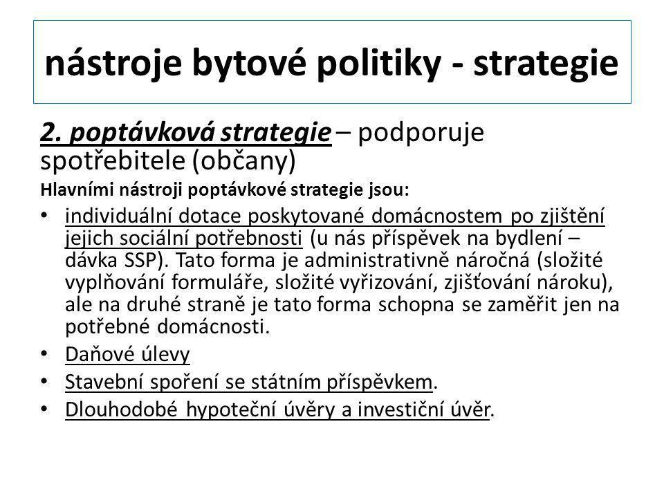 nástroje bytové politiky - strategie 2. poptávková strategie – podporuje spotřebitele (občany) Hlavními nástroji poptávkové strategie jsou: individuál