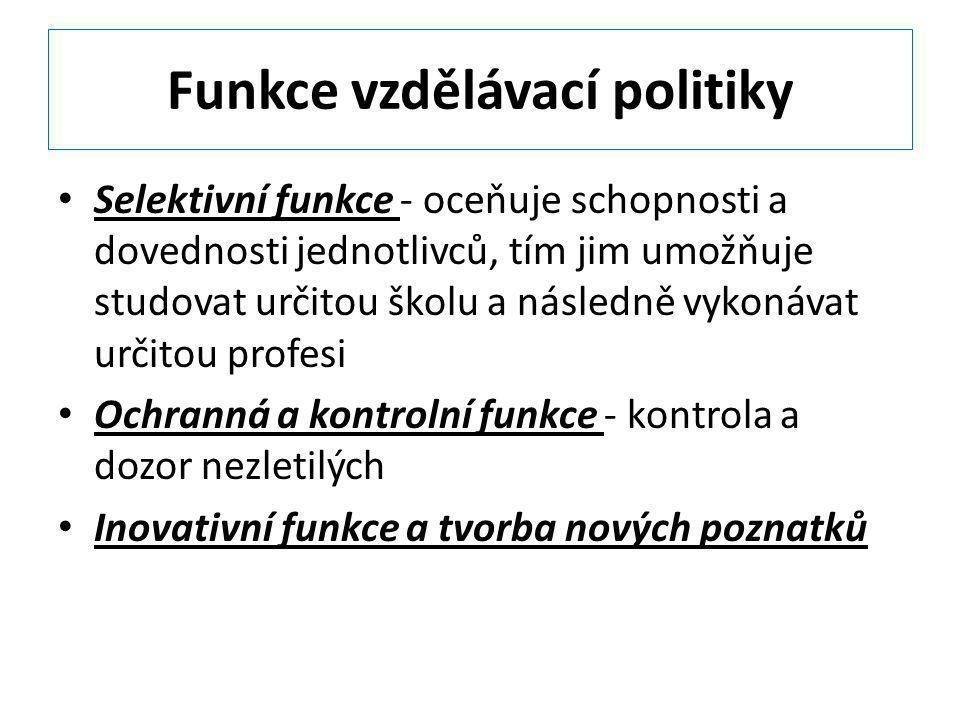 Funkce vzdělávací politiky Selektivní funkce - oceňuje schopnosti a dovednosti jednotlivců, tím jim umožňuje studovat určitou školu a následně vykonáv