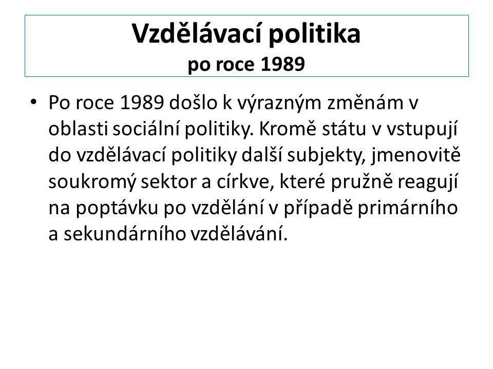 Vzdělávací politika po roce 1989 Po roce 1989 došlo k výrazným změnám v oblasti sociální politiky. Kromě státu v vstupují do vzdělávací politiky další