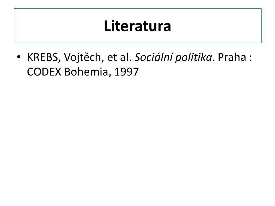 Literatura KREBS, Vojtěch, et al. Sociální politika. Praha : CODEX Bohemia, 1997