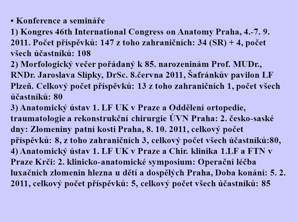 Konference a semináře 1) Kongres 46th International Congress on Anatomy Praha, 4.-7.