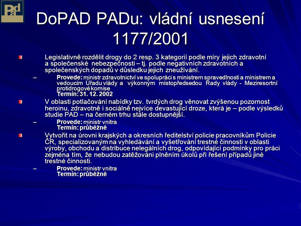 Hlavní výsledky PAD Zavedení trestnosti držení drog pro vlastní potřebu nesplnilo žádný ze svých testovaných cílů a z ekonomického pohledu je ztrátové