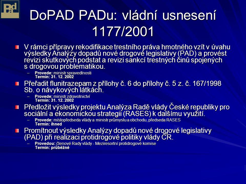 DoPAD PADu: vládní usnesení 1177/2001 Legislativně rozdělit drogy do 2 resp. 3 kategorií podle míry jejich zdravotní a společenské nebezpečnosti – tj.