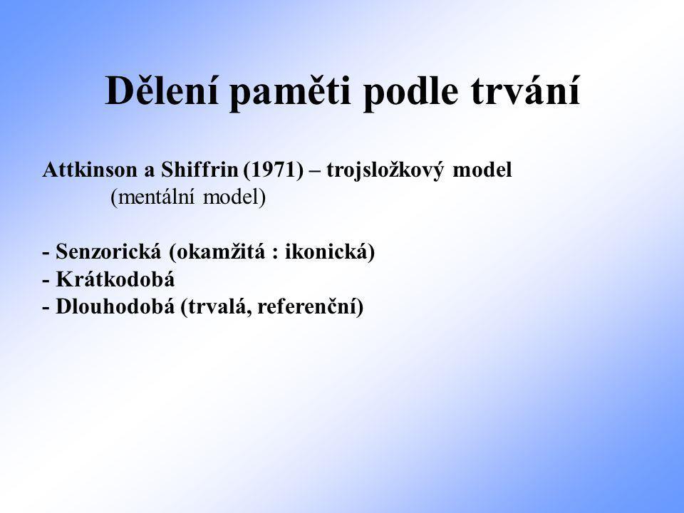 Dělení paměti podle trvání Attkinson a Shiffrin (1971) – trojsložkový model (mentální model) - Senzorická (okamžitá : ikonická) - Krátkodobá - Dlouhodobá (trvalá, referenční)