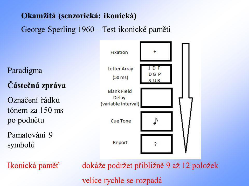 Okamžitá (senzorická: ikonická) George Sperling 1960 – Test ikonické paměti Paradigma Částečná zpráva Označení řádku tónem za 150 ms po podnětu Pamatování 9 symbolů Ikonická paměť dokáže podržet přibližně 9 až 12 položek velice rychle se rozpadá