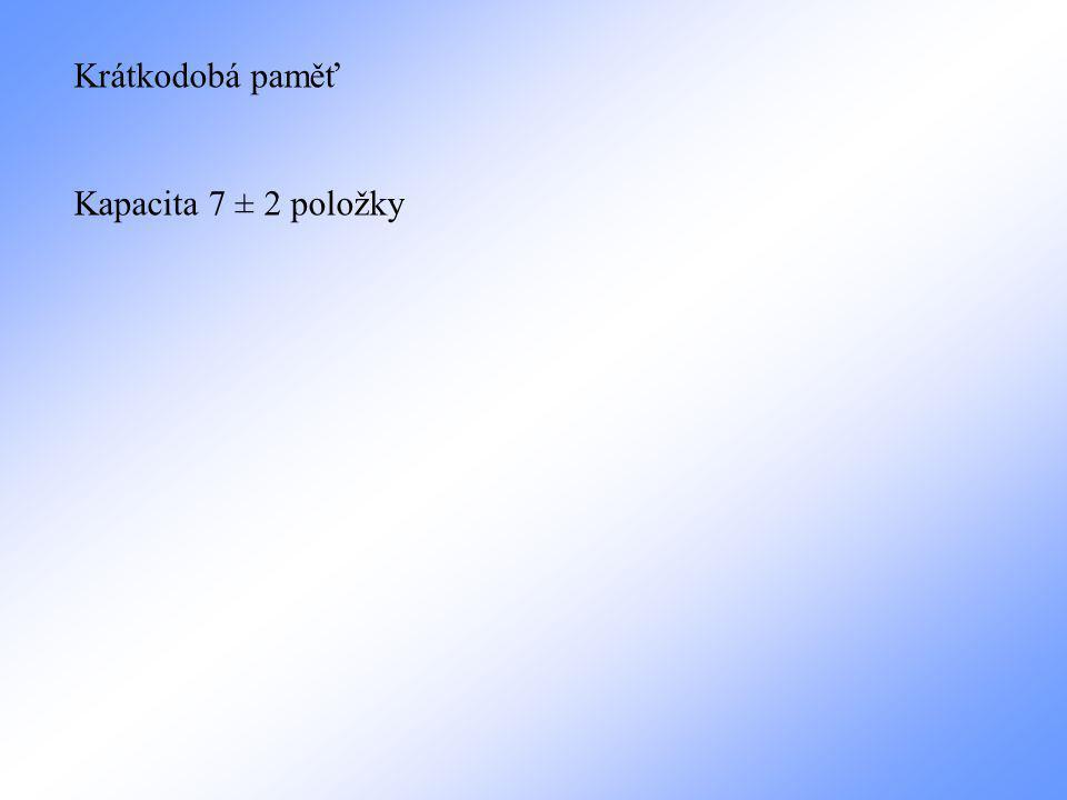 Krátkodobá paměť Kapacita 7 ± 2 položky