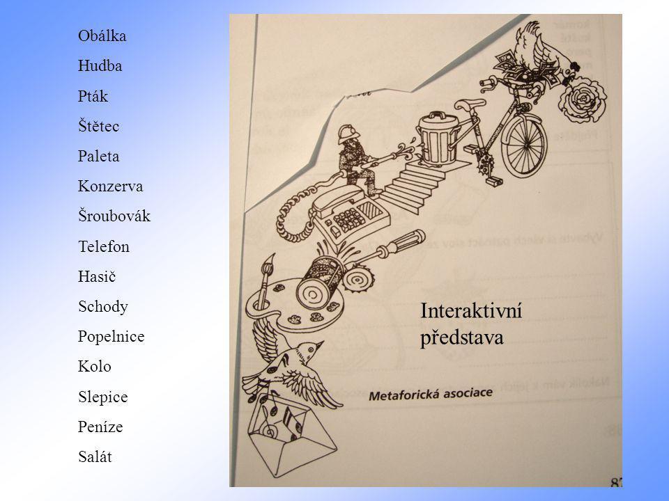 Obálka Hudba Pták Štětec Paleta Konzerva Šroubovák Telefon Hasič Schody Popelnice Kolo Slepice Peníze Salát Interaktivní představa