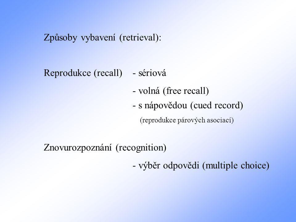 Způsoby vybavení (retrieval): Reprodukce (recall)- sériová - volná (free recall) - s nápovědou (cued record) (reprodukce párových asociací) Znovurozpoznání (recognition) - výběr odpovědi (multiple choice)