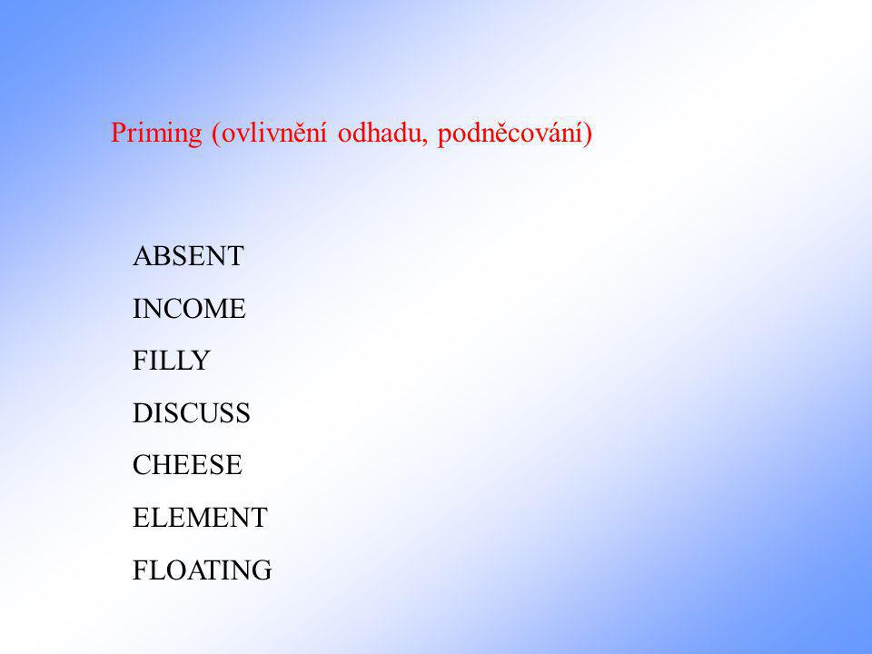 Priming (ovlivnění odhadu, podněcování) ABSENT INCOME FILLY DISCUSS CHEESE ELEMENT FLOATING