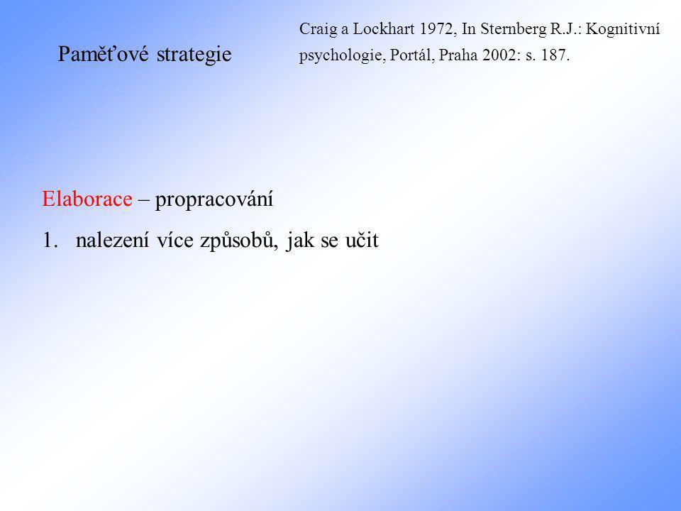 Paměťové strategie Elaborace – propracování 1.nalezení více způsobů, jak se učit Craig a Lockhart 1972, In Sternberg R.J.: Kognitivní psychologie, Portál, Praha 2002: s.